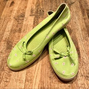 Keds slipons in green and pink